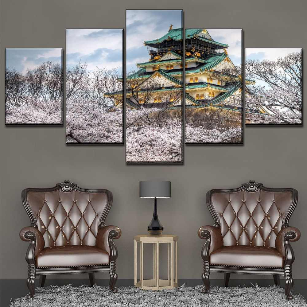מודולרי תמונה 5 piece אביב סאקורה יפן אוסקה טירת ציור מודרני בד הדפסת סוג יצירות אמנות בית סלון