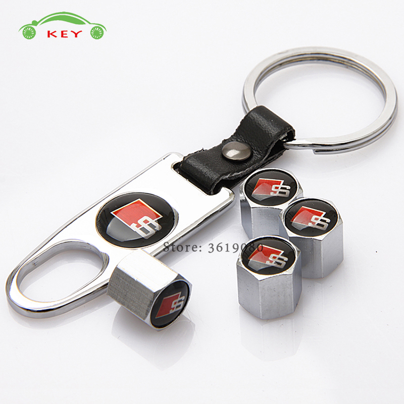 Car Styling Meatl Wheel Stem Covers Auto Tire Valve Caps with Keychain for S Line Logo for Audi S1 S3 S7 S6 A3 B5 Q7 TT quattro