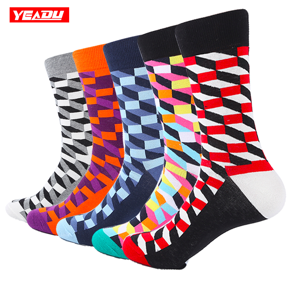 YEADU 5 Pair/Lot Mens Colorful Combed Cotton Socks New Color Red Grey Filled Optic Casual Dress Socks Mid Calf Crew Socks ...