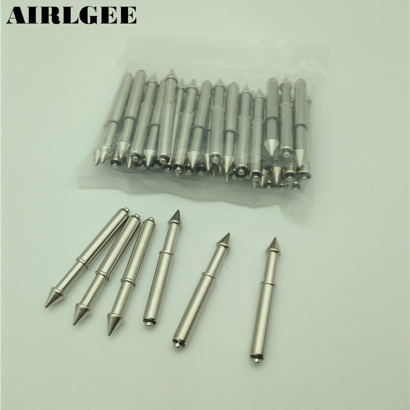 50 Pcs Length 44mm x 5mm Tip Diameter Cone Shape Arrow Tip Spring Loaded Test Probes Pin Free shipping
