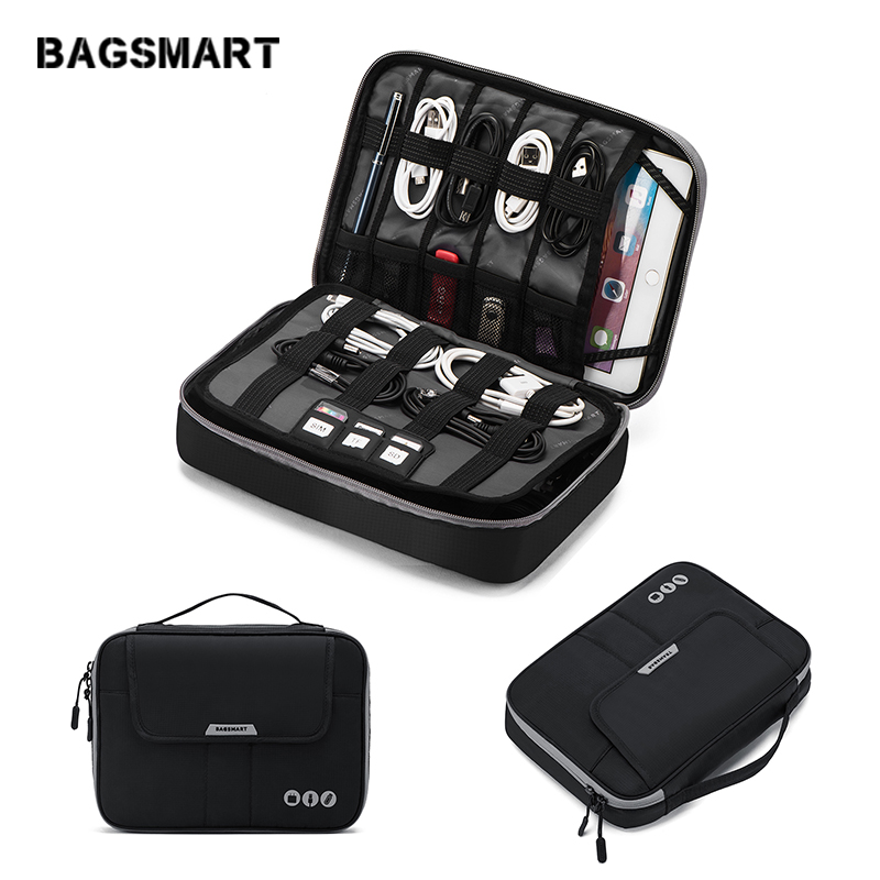 BAGSMART Travel Electronic Accessories Organizer Double Layer Carry Storage Bag Large Capacity Bag For IPad Kindle Power Adapter