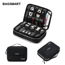 BAGSMART Travel Electronic Accessories Organizer Double Layer Carry Storage Bag