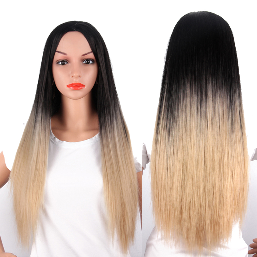 AliLeader Natural Afro Long Straight Wig Ombre Blonde Green Burgundy Grey Dark Roots Synthetic Hair Full Wigs For Black Women