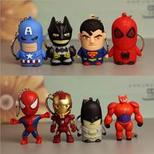 Marvel Avengers Action Figure Keychain Toys Iron man Ironman Key chain Led Holder Keyring Batman Superman Keyrings Super man Toy(China)