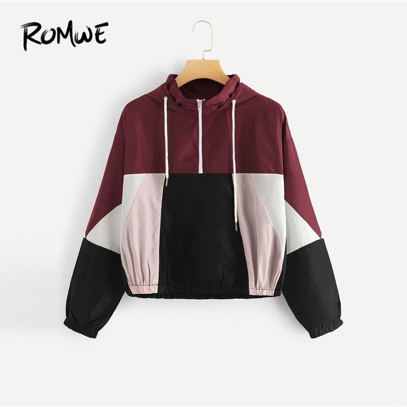 ROMWE Colorblock Drawstring Drop Shoulder Hooded Jacket 2019 Women Spring Autumn Long Sleeve   Coat   Stylish Zipper Outerwear
