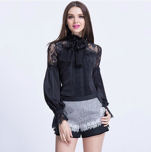 Fashion New 2017 Women's Blouses For Spring Summer Ladies Bow Collar Long Sleeve Lace Patchwork White Black Silk Blouse Shirts