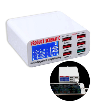 USB Charge 3.0 6-Port 6A USB Charger Adapter Hub Multi Port USB Hub With Charger Dock Station with LCD Display Auto Detect Tech