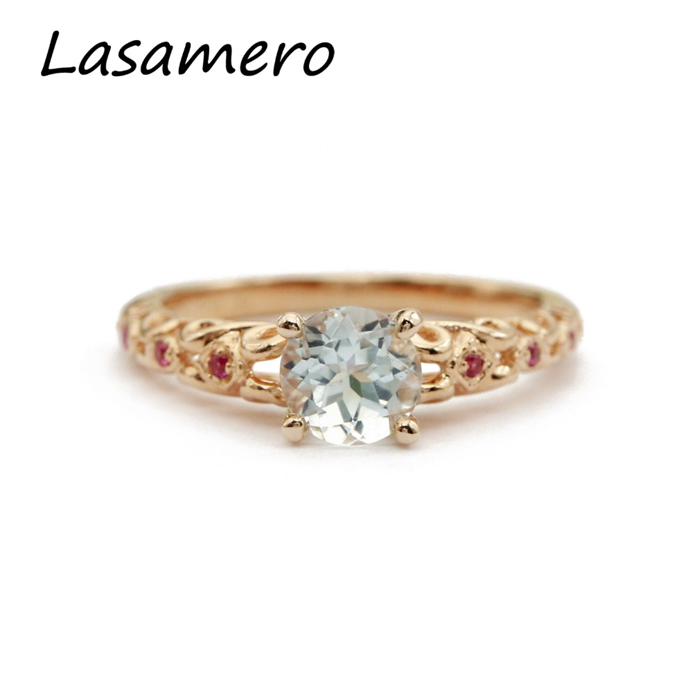 LASAMERO Rings for Women 0.85CT Round Cut Natural Aquamarine Rings 925 Silver Engagement Wedding Rings orient часы orient eu00002t коллекция sporty automatic