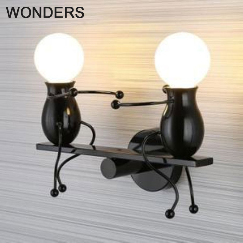 Creative Led Wall Light Small Iron Man Fashion Children S Room Bedroom Bedside Aisle Sconces Little