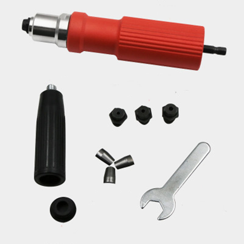 Red Electric Rivet Nut Gun Riveting Tool Cordless Riveting Drill Adaptor Insert Nut Tool Riveting Drill Adapter 2.4mm-4.8mm