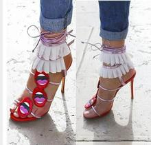 New Arrivals 2019 Mixed Colors Lips Women Sandals Cut-out Ankle Warp Lace-up Gladiator Sandals Women Thin Heels Dress Shoes