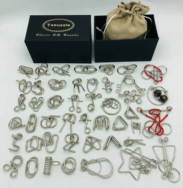 Nouveau lot de 30/41/46 pièces métal Puzzle esprit cerveau Teaser fil magique anneaux Puzzles jeu jouets pour enfants adultes
