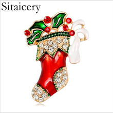 Sitaicery New Year Fashion Christmas Socks Brooch Rhinestone Jewelry For Color Stone Enamel Pin Accessories