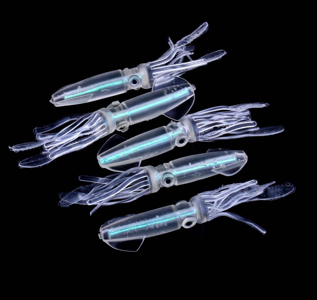 Gurita Squid Luminous Umpan Lembut Memancing Umpan Glow Di Malam Hari 100M/9G Cahaya Bersinar Laut Memancing Swimbait wobblers Buatan Umpan