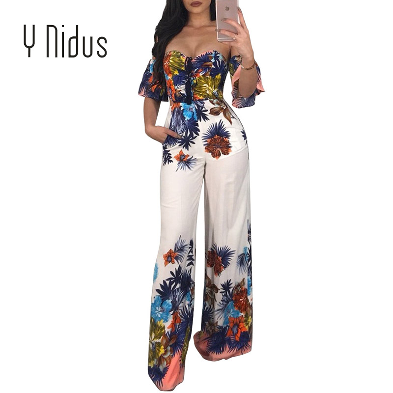 Y Nidus Womens Jumpsuits Summer Roopers 2018 Sex F Print Off Shoulder Bodysuit Ruffles Playsuit Big Size macacao feminino