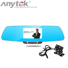 Buy online newest anytek T6 car dvrs dual lens 1080P full hd car camera dash cam video recorder registrar blue rearview mirror registrato