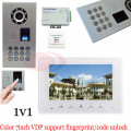 New Fingerprint/Code unlock Video door phones intercom systems outdoor unit waterproof(IP65)+Access control power supply