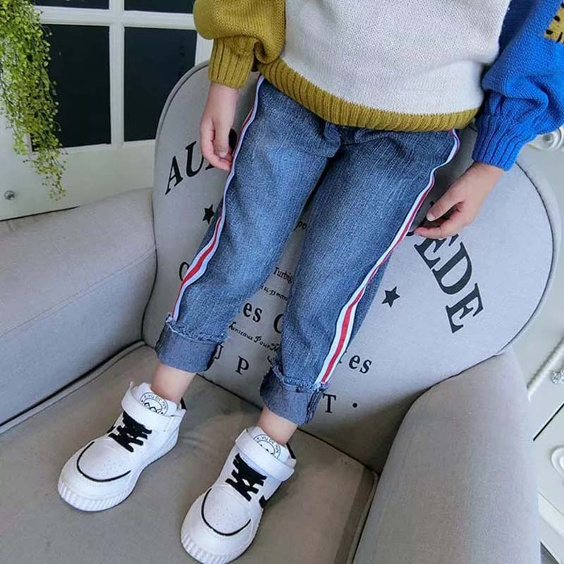Mannp Fashion New 2018 Jeans Children Kids Skinny Denim Pants Boys Girls Side Ribbon Washed Jeans Grinding Casual Panties Unisex women casual jeans blue black gray stripe skinny jeans women fashion pants