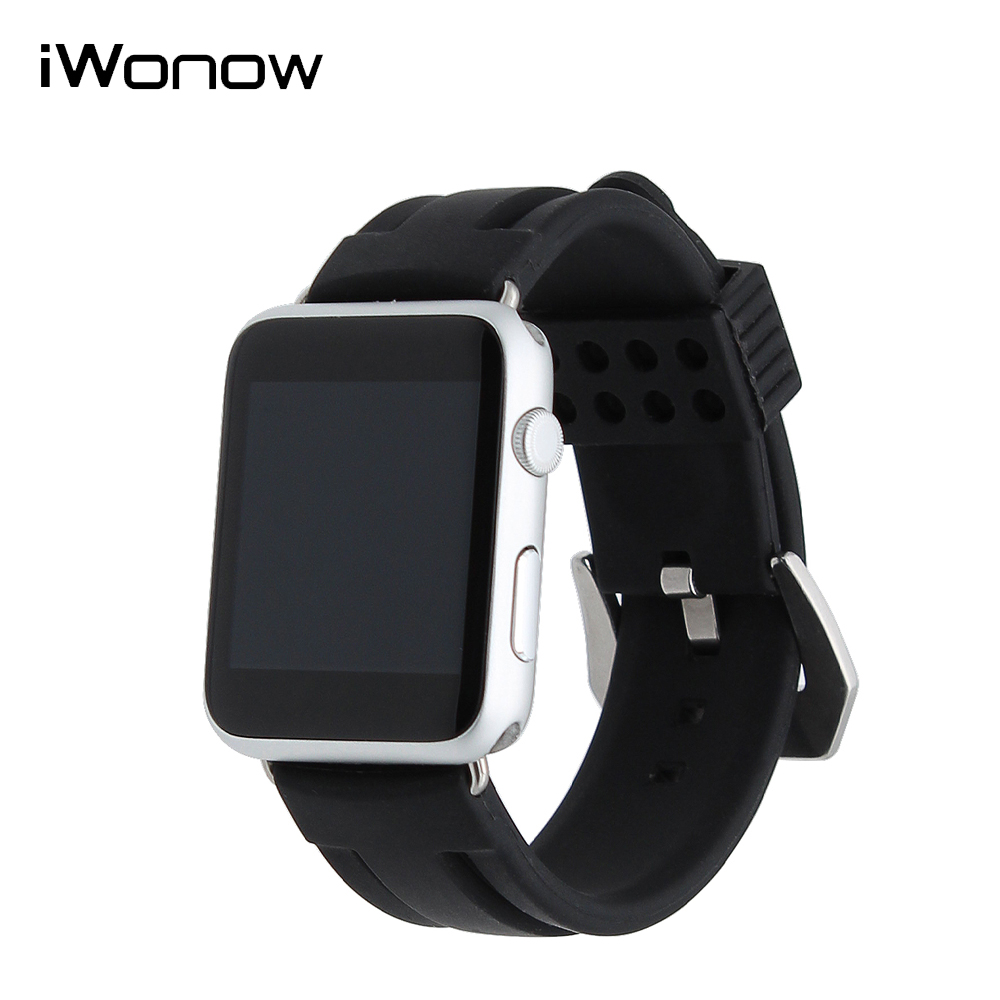 Silicone Rubber Watch Band for iWatch Apple Watch 38mm 42mm Stainless Brush Tang Clasp Strap Wrist Belt Bracelet Black + Adapter t rrce expert black silicone rubber strap t048 watch band for t048417a 21mm