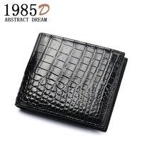 designer crocodile skin wallet . classic luxury belly purse . black card holder wallet. men leather alligator men's short Wallet