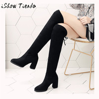 Women Over The Knee Boots Lace Up Sexy Heels Shoes Lace Up Winter Comfortable Shoes Breathable Sneakers Adult Non slip New