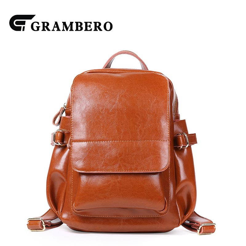2018 New Style Soft Oil Wax Leather Women Backpack Zipper Genuine Leather School Shopping Bag Spring Summer Fashion Bags Gifts 2018 new style soft genuine leather zipper backpack black color cow leather women fashion bag for party sent friends school bags
