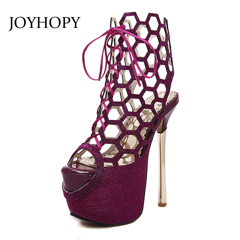 Sexy Candy Color High Heels Peep Toe Sandals Women Hollow Out 16cm Thin Heel Platform Shoes Ladies Ankle Sandals Boots WS1699