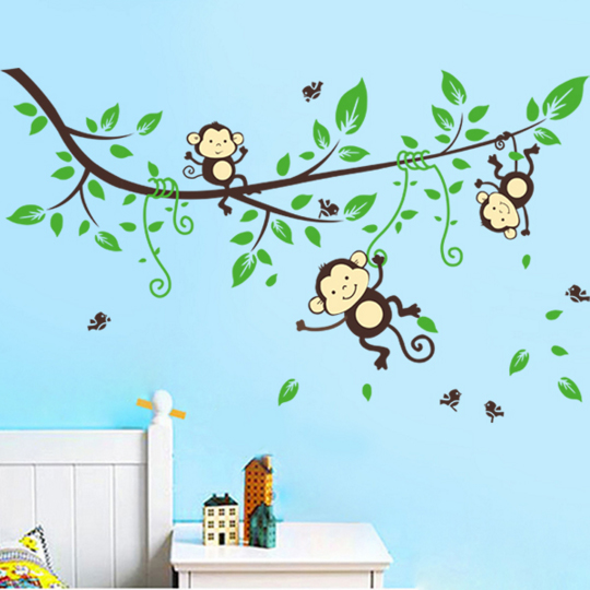 Nursery Zoo Wall Sticker Monkey Stickers For Kids Room Home Decorations Animal Art Diy Cartoon Decals In From