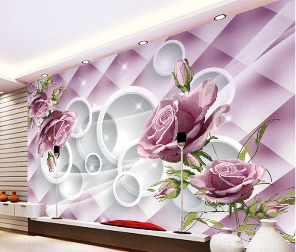 Purple Rose 3d Murals Wallpaper For Living Room 3d