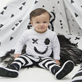 2pcs/set 2017 baby sets fashion white long sleeve Smiling face pattern t-shirt and striped pants infant toddler clothing