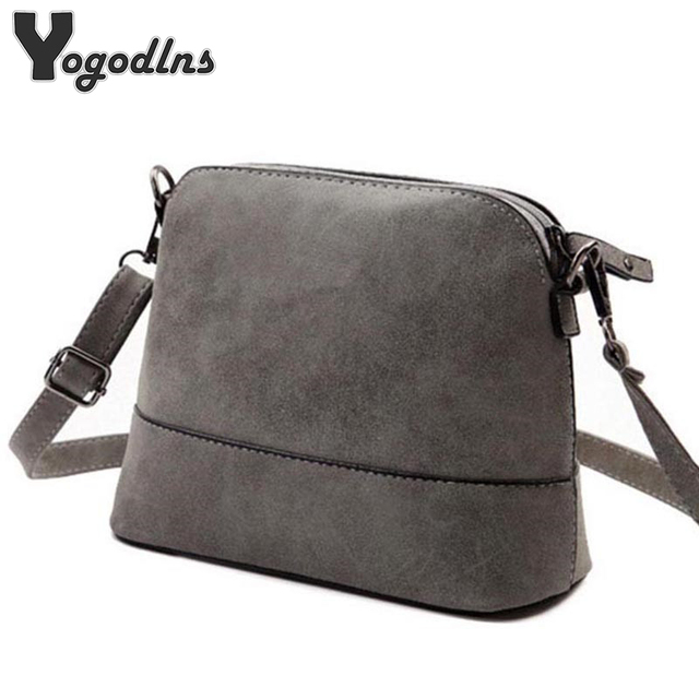 fcc382dcd3 New fashion women s messenger bag scrub shell bag Nubuck Leather small  crossbody bags over the shoulder