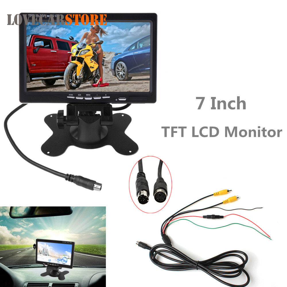 7 Inch 2CH HD TFT LCD Screen Car Rear View Monitor Auto Parking Backup Reverse Headrest Monitor for Rearview Camera DVD VCR