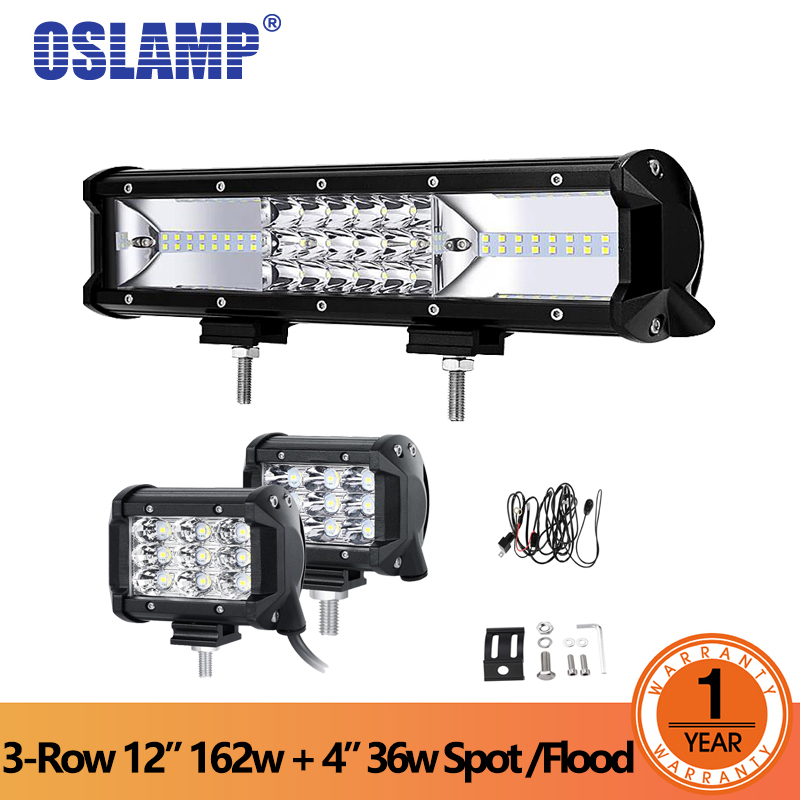 Oslamp 162W LED Work Light 12 Led Work Lights +4 36W Flood/Spot Combo LED Offroad 4x4 Led Light Bar Driving Lights for Car brand new universal 40 w 6 inch 12 v led car work light daytime running lights combo light off road 4 x 4 truck light