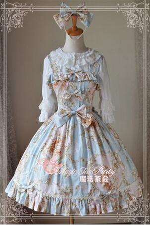 Здесь продается  High Quality Elegant Print Lolita Dress Sleeveless Women Girls Cute Bowknot Party Vestidos Sweet Vintage Ladies Maid Costume  Одежда и аксессуары