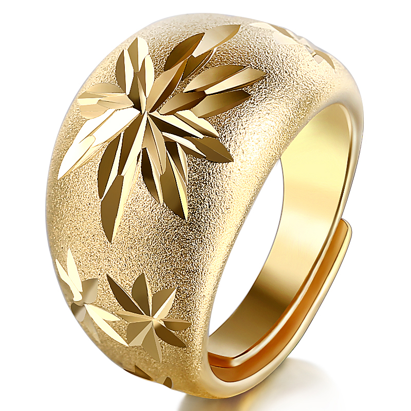 15mm Classic Matte Leaf Wedding Ring Luxury Gold Color Resizeable Finger Jewelry for Men / Women snap button jewelry