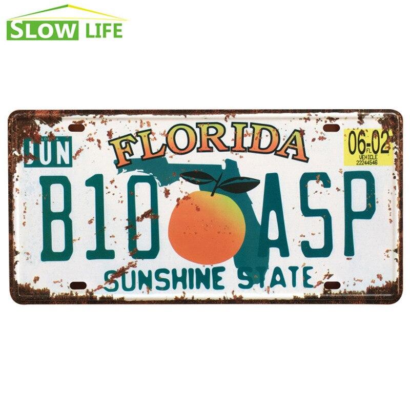 Florida B10 ASP Car Metal License Plate Metal Tin Sign Vintage Home Decor Tin Sign Bar Decorative Metal Sign Retro Metal Plaque