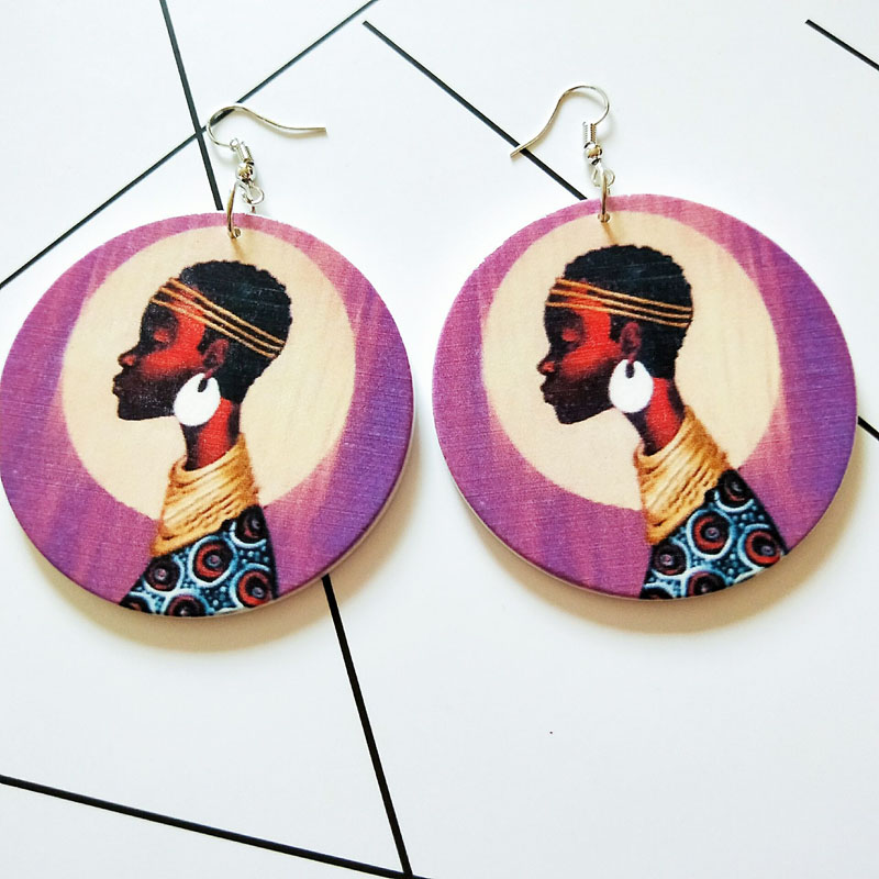 Tribal Wood Africa Girls Purple Vintage Drop Earrings Round Wooden Boho Black African Chic Bohemia Ear Jewelry Party Accessories