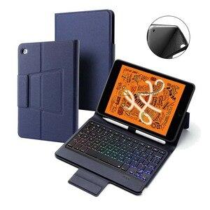 Для iPad mini 5 2019 тонкий беспроводной Bluetooth русский/испанский/иврит чехол для клавиатуры с карандашом 7 цветов светодиодная подсветка