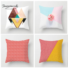 Fuwatacchi Nordic Style Cushion Cover Pink Patchwork Geometric Pillow Home Decoration White Pillowcases Soft Case