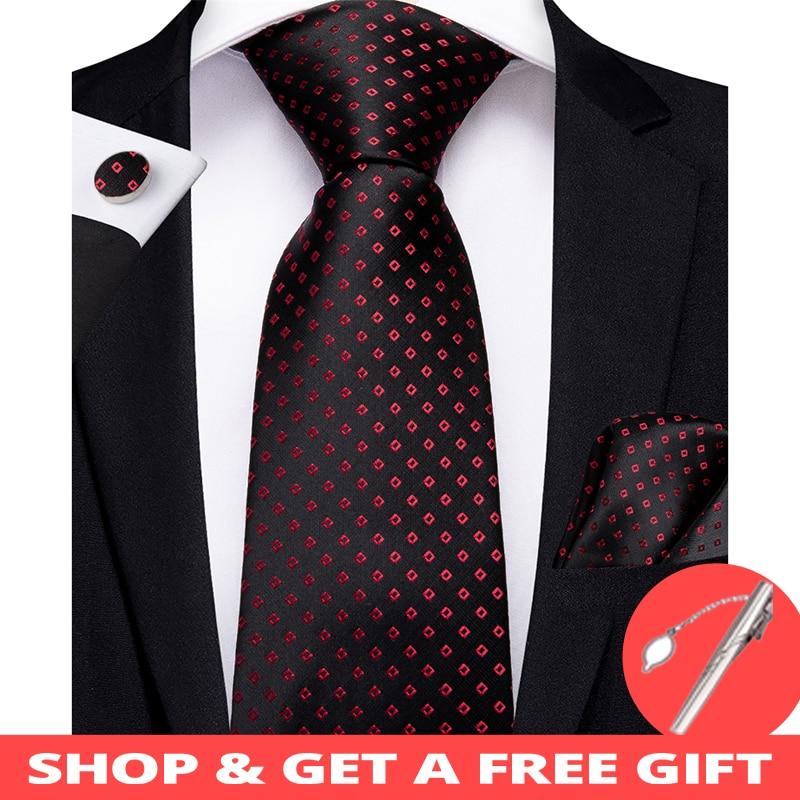 DiBanGu Luxury Black Red Dot Men's Tie Clip 100% Silk Tie For Men Hanky Cufflinks Necktie Wedding Party Business Tie Set MJ-7171