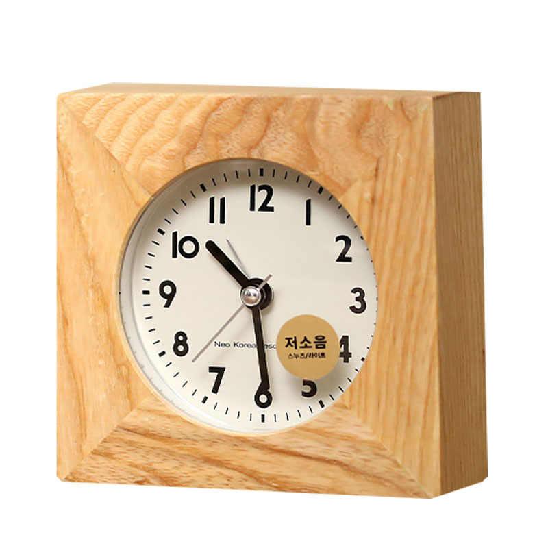 Украшения дома утюг площади будильник рабочего стола Ночной часы детей взрослых часы Decor Mute древесины будильники