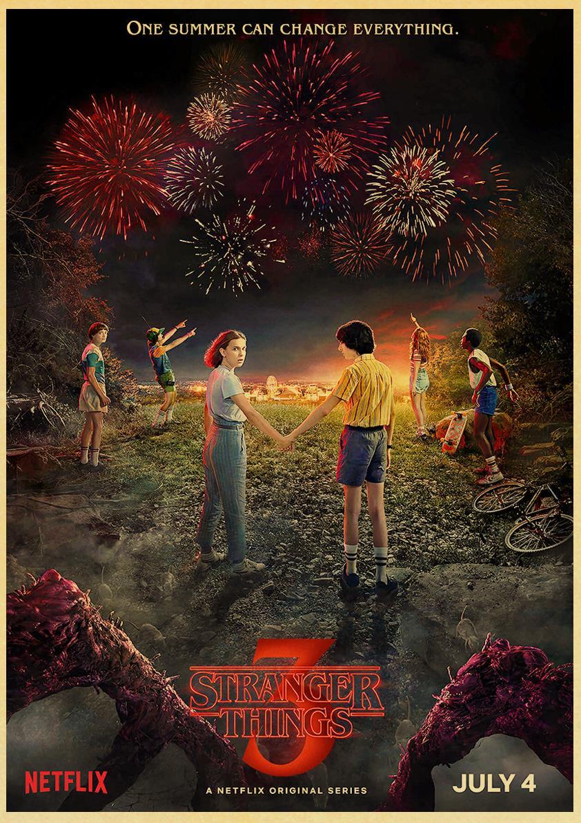 2019 New Stranger Things Season 3 Posters TV Movie kraft paper Prints Art For Living Room Wall Bedroom Decors 42*30cm