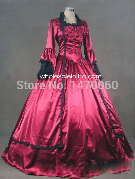 18th Century Wine Red Satin Marie Antoinette Period Dress Ball Gown/Performance Clothing