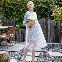 בגדי שמלות הריון תחרה קיץ 2 יחידות אישה בהריון ארוך בסגנון קוריאני שמלות תחרה dress עם שרוול קצר חולצת טריקו yl593
