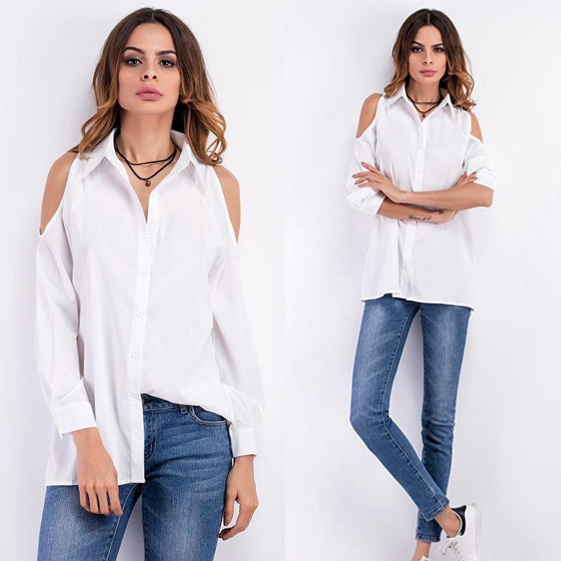 2018 nouveau femmes Sexy hors épaule Blouse chemise tourner vers le bas col décontracté hauts blanc noir à manches longues chemises Blouse femme en mousseline de soie