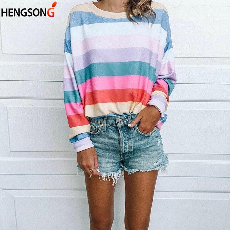New Fashion Harajuku Tshirt Rainbow Stripes T-Shirt For Women Autumn Long Sleeve Tee Shirt Femme Casual Tops Camiseta Feminina