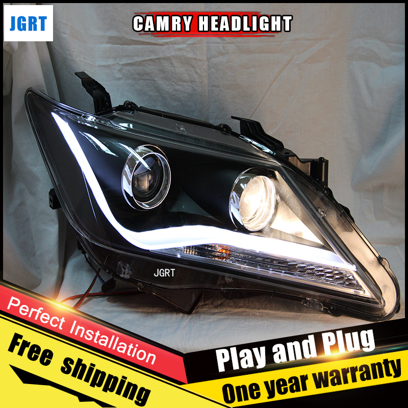 2PCS Car Style LED headlights for Toyota Camry 2012-2014 for Camry head lamp LED DRL Lens Double Beam H7 HID Xenon bi xenon lens hireno headlamp for 2003 2009 toyota land cruiser prado headlight assembly led drl angel lens double beam hid xenon 2pcs