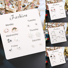 6 Pairs/set Fashion Stars Heart Cloud Design Earrings Crytal Cute trendy  stud earrings women Jewelry Monday To Saturday