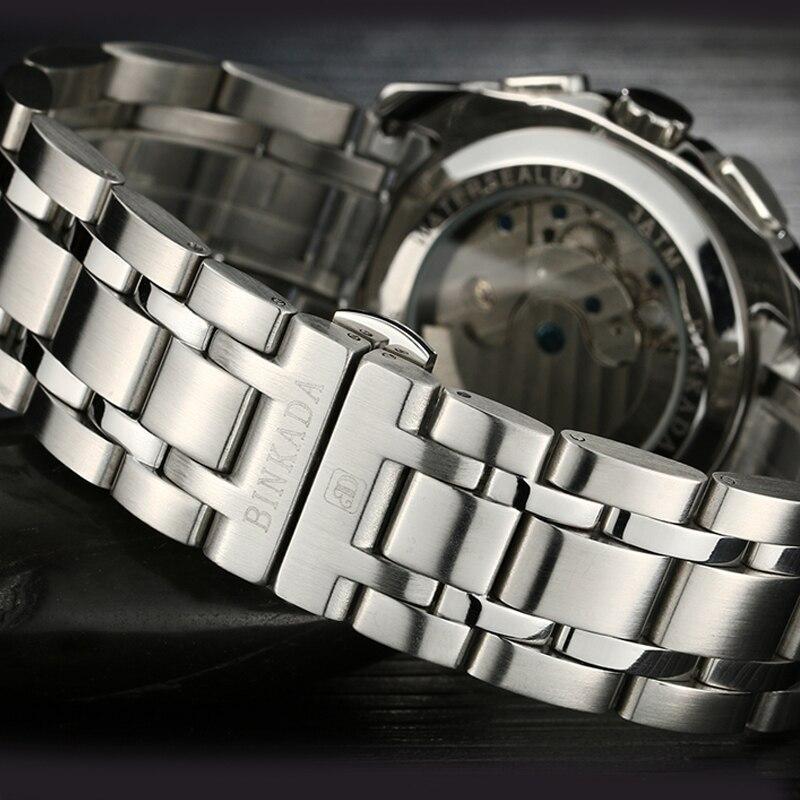남자 고품질 해골 기계식 시계 원래 새로운 패션 럭셔리 브랜드 binkada 남자 문 단계 자동 시계-에서기계식 시계부터 시계 의  그룹 3