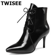 Twisee полусапожки из лакированной кожи Острый носок Пояса из натуральной кожи Черные и темно-красные туфли красные женские Кружево на шнуровке зимние сапоги плюс размер 34-43